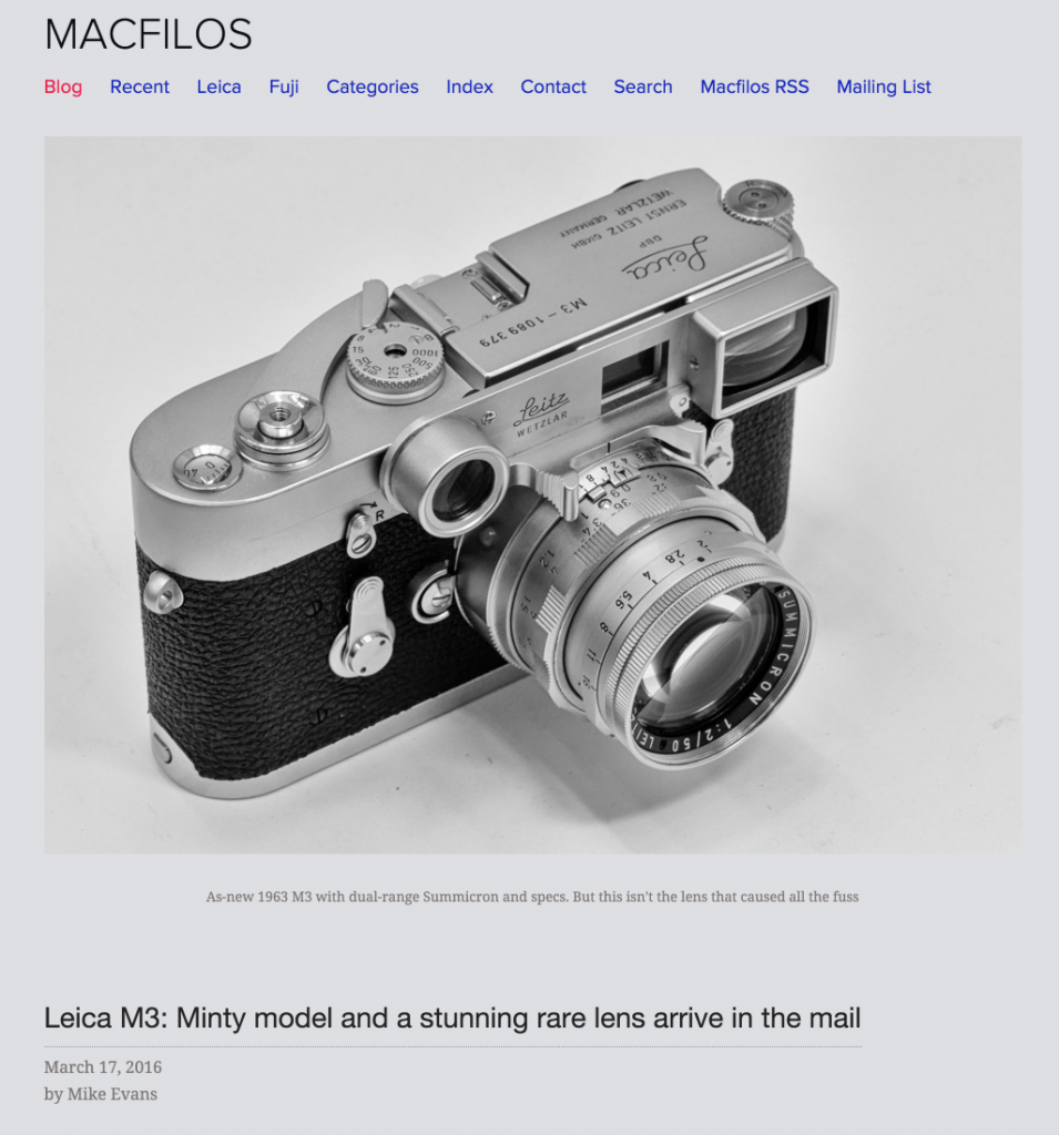 Leica M3: Minty model and a stunning rare lens arrive in the mail — macfilos 2016-03-20 10-37-26