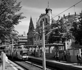 Bielefeld Zentrum. Kodak TMax400, Orange Filter